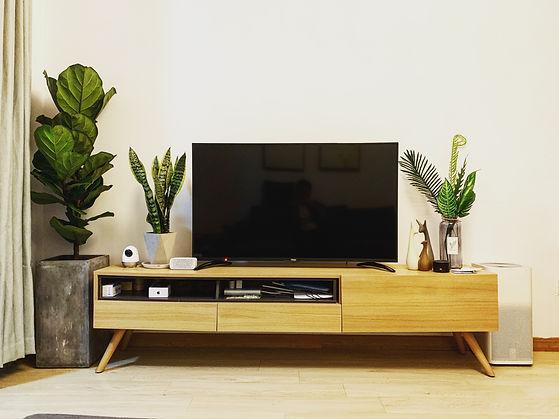 custom entertainment center with custom furniture in Calgary