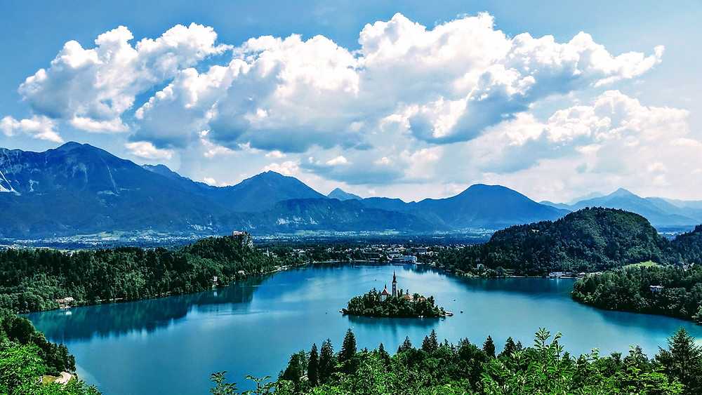 the mountain resort of Lake Bled in Slovenia