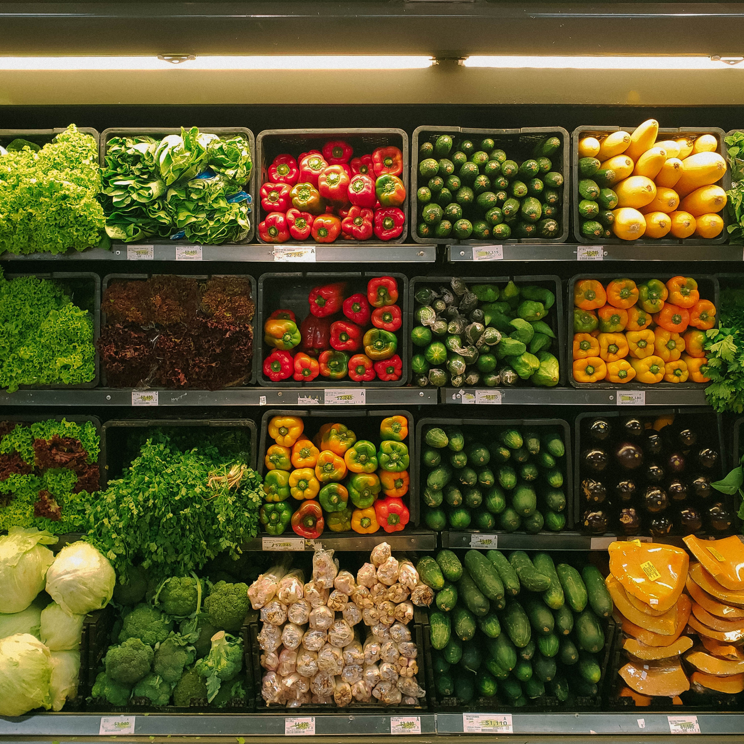 Vegetables in a produce section