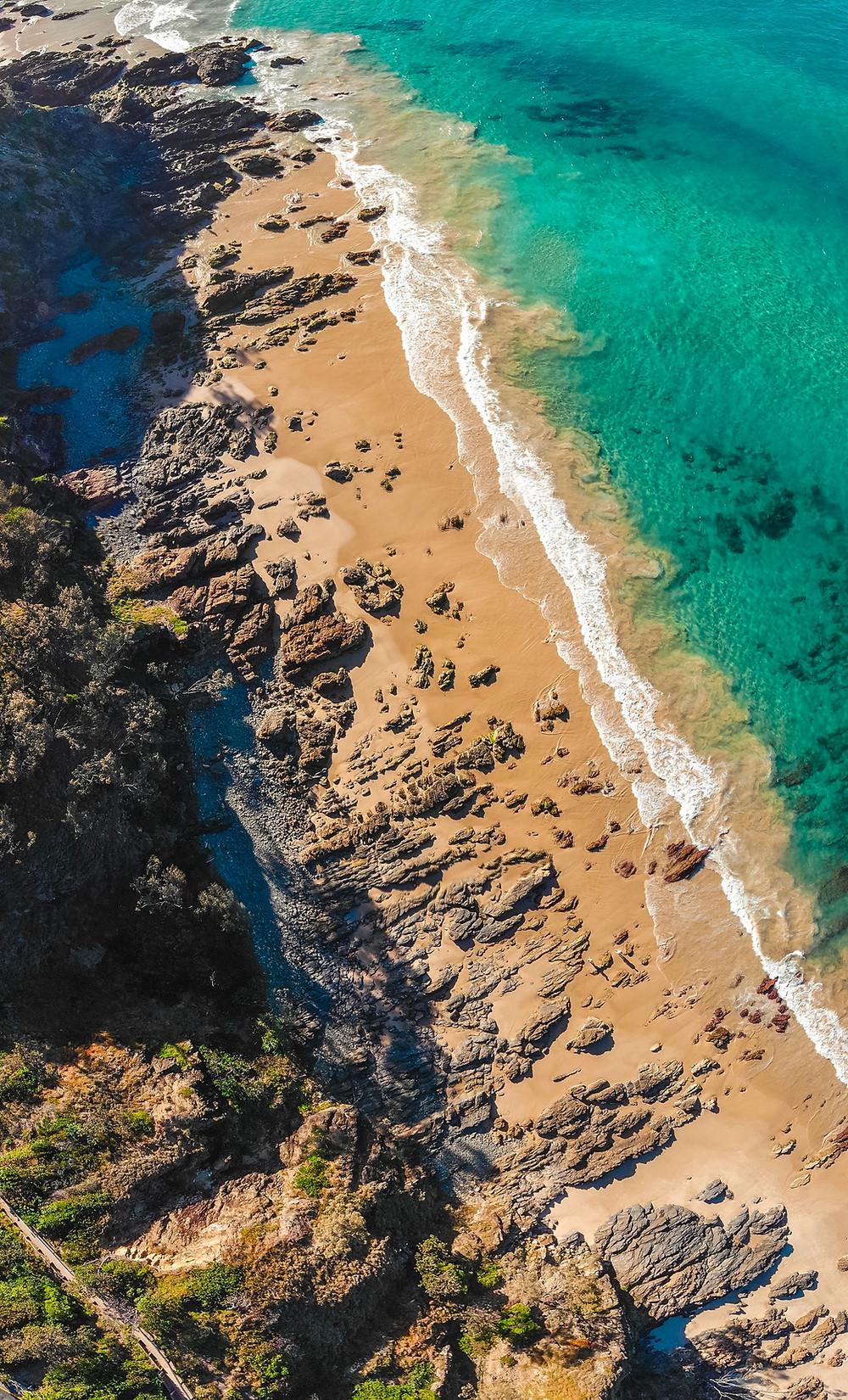 Rocks and sand oceanside