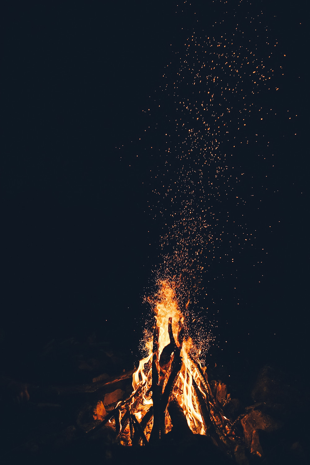 Camp fire spewing sparks
