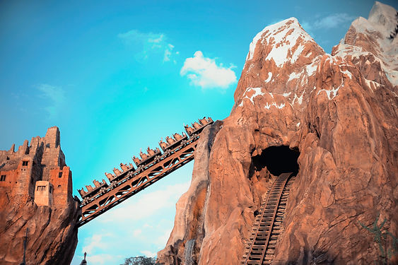 Train car ascending Expedition Everest at Disney's Animal Kingdom