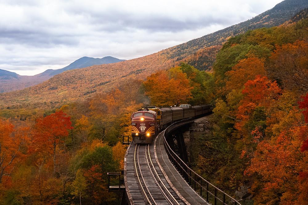 Bahn fährt durch herbstliche Gebirgslandschaft