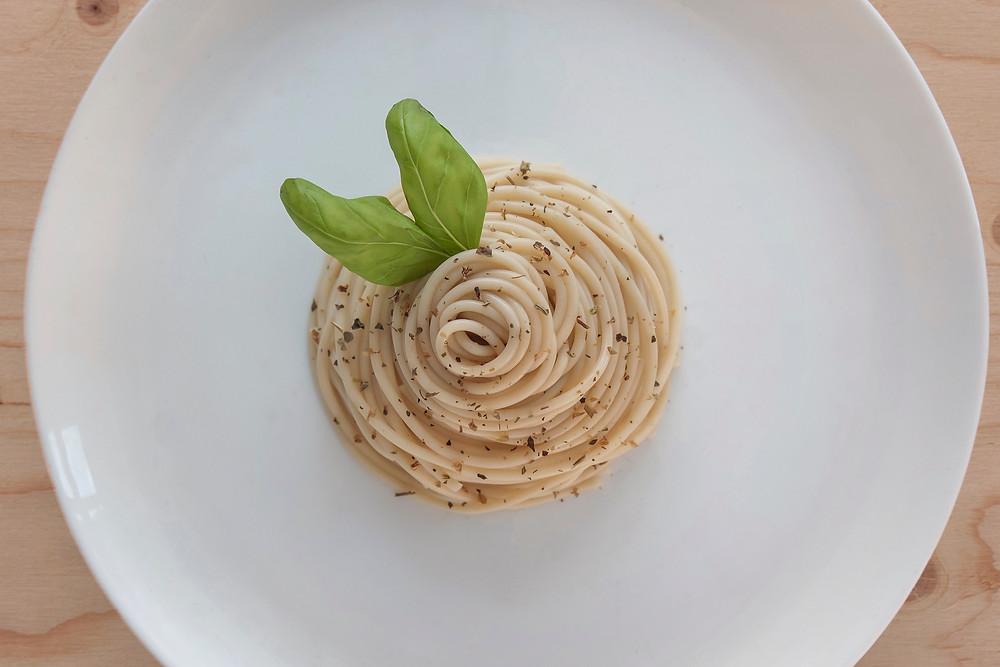 pasta, basil, cream cheese, pepper, herbs