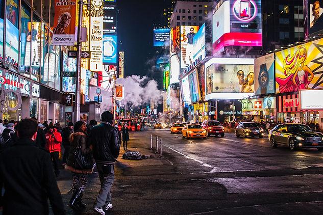New York City mainos ilta ruuhka taksit