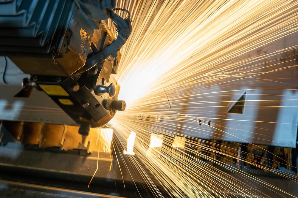 welding robot during working process