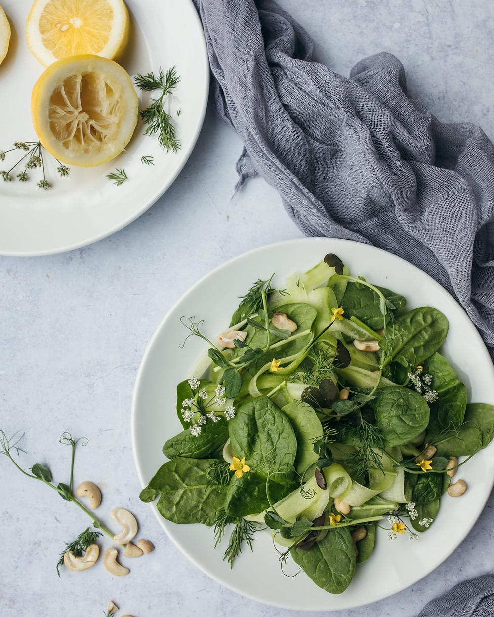 spinach salad greens leafy vegetables lemon