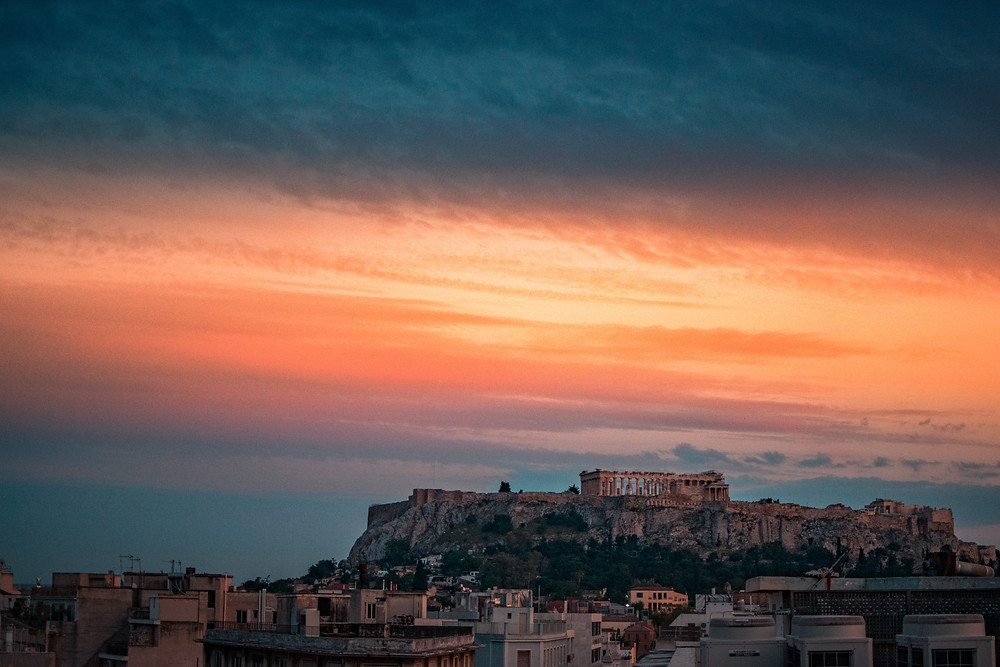 Sunset in Athens Greece