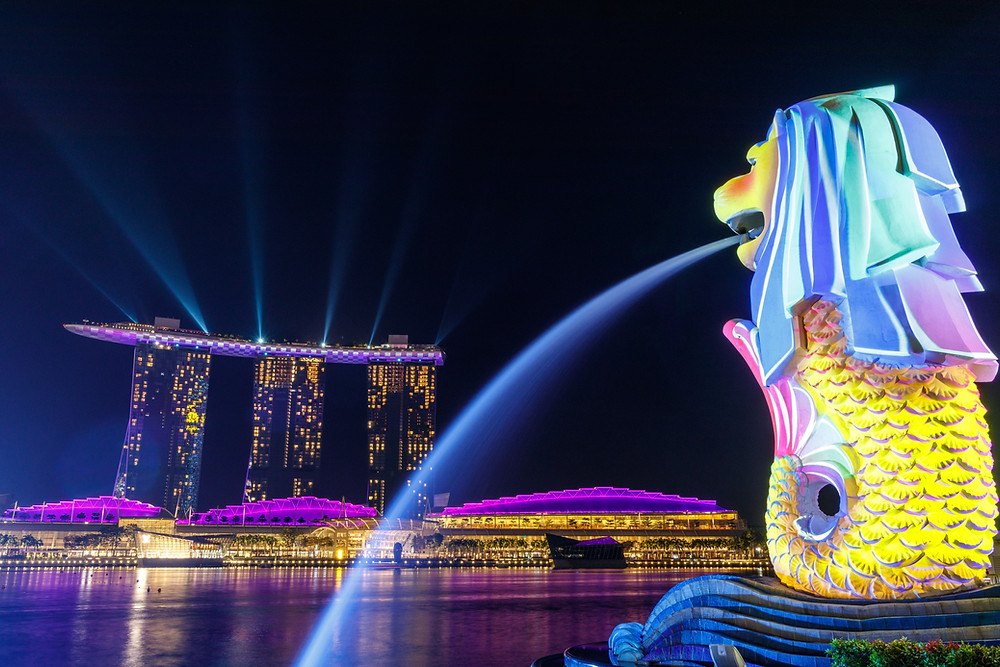View of the Merlion in Sentosa Island, Singapore