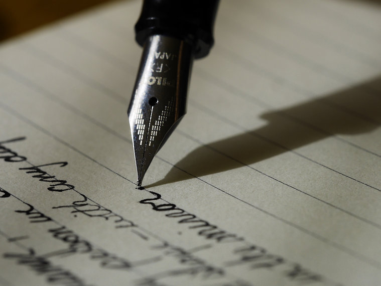 Fountain Pen Writing on lined Paper