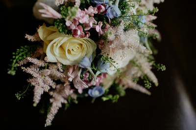 Pink and blue bridal bouquet