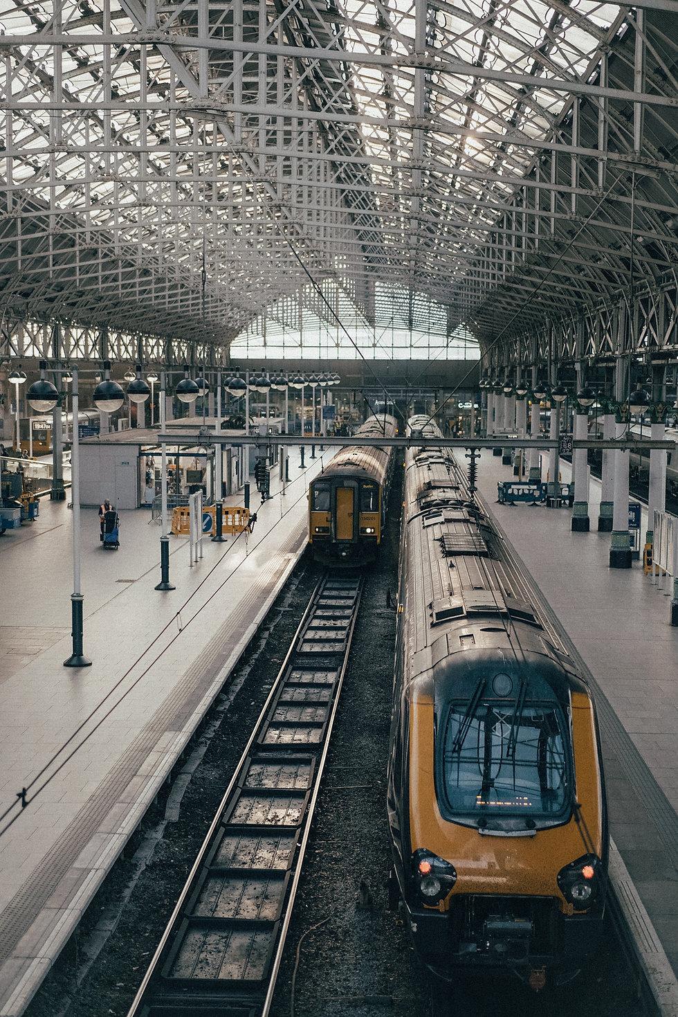 rail trains in train station
