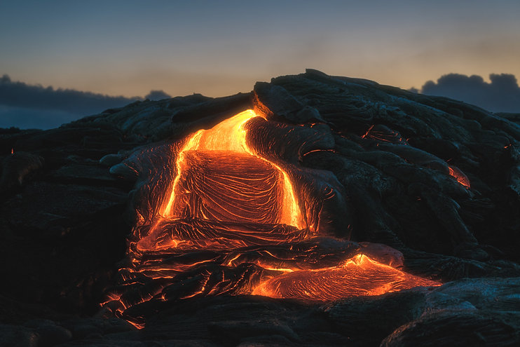 Lava behind text for sound healing and reiki events in Hawaii.