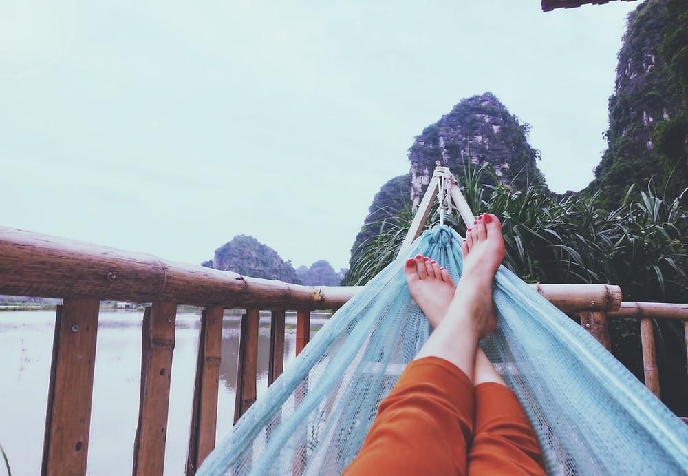 Hangmat voeten bergen balkon
