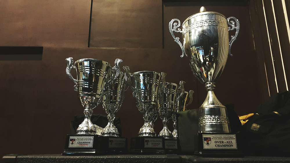 Silver champion trophies lined up