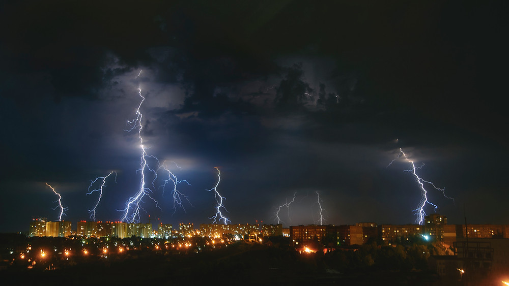 thunder storm over a city