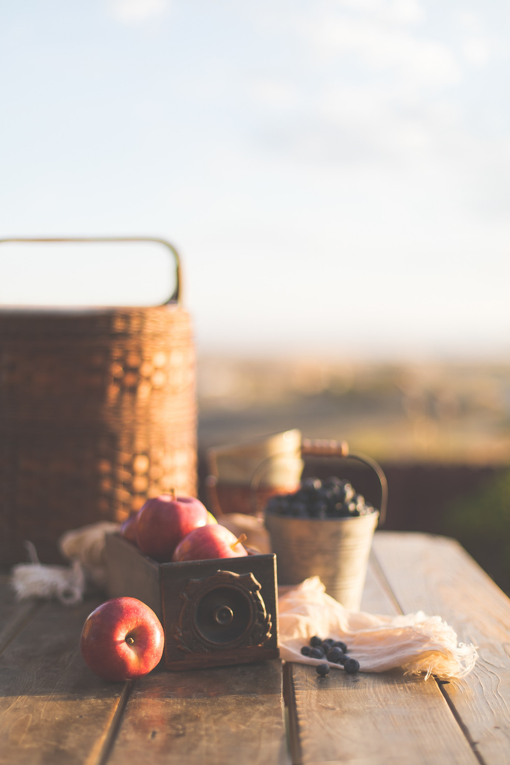 Picnic table with apples and blueberries inside a basket.