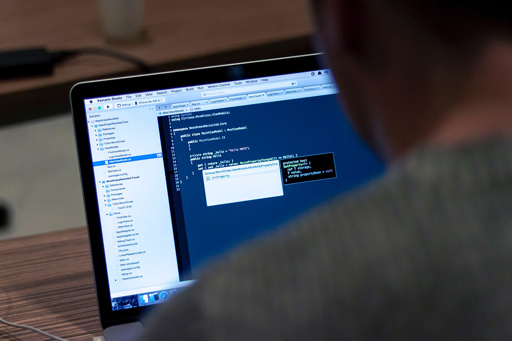 support technician working on codes on his website