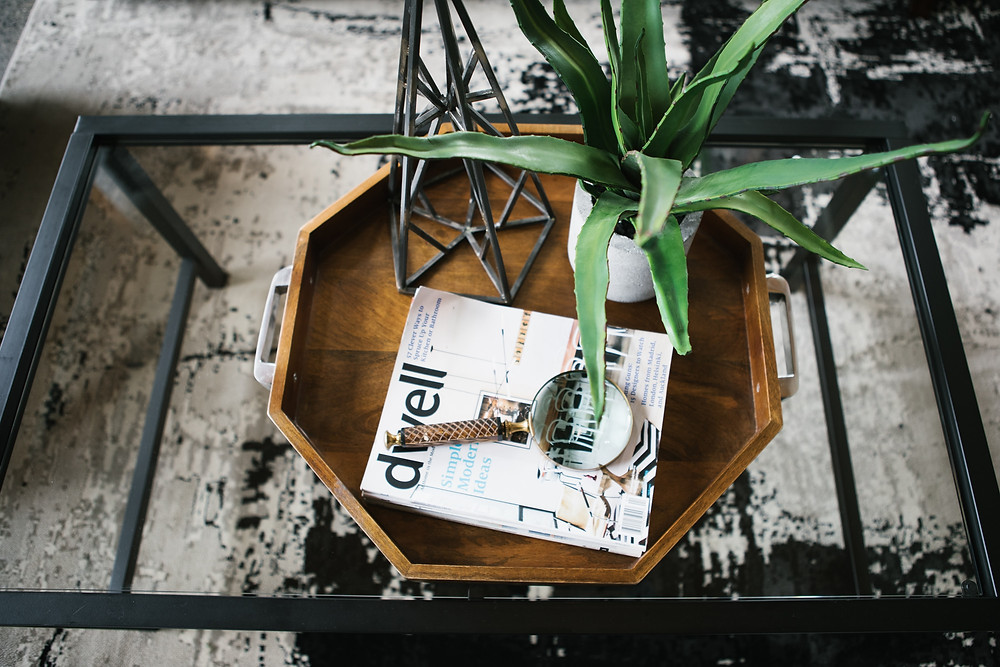 coffee table with plant and magazine