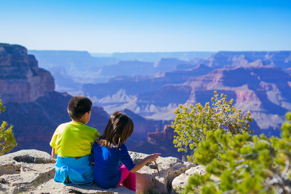 Two young children (brother and sister) sitting on a rock cliff overlooking the Grand Canyon