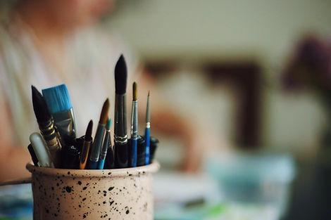 Pot of paintbrushes