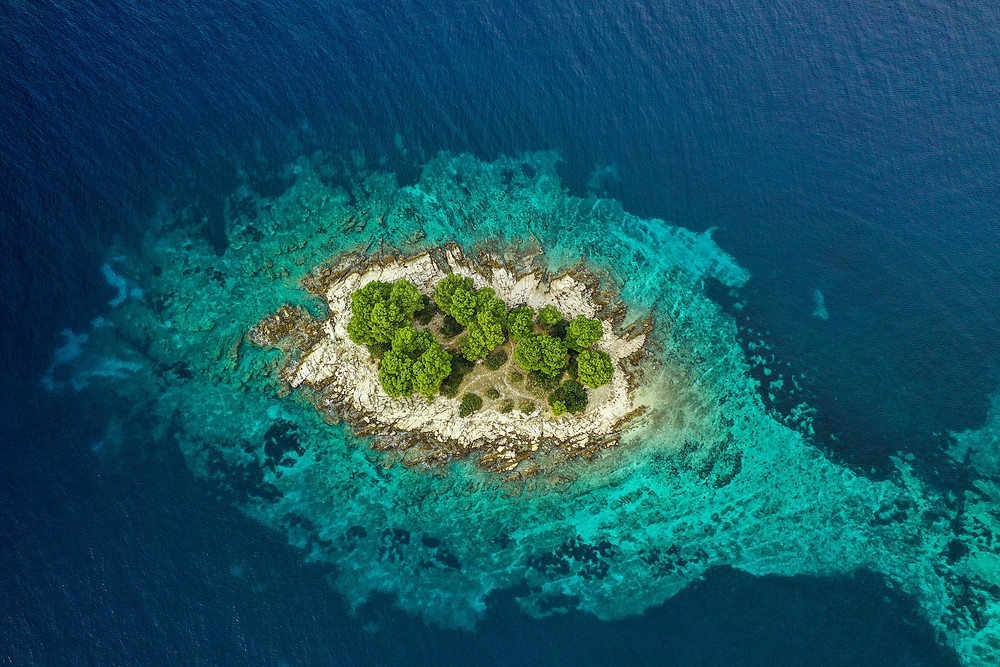 A bird's eye view of one of the islets of Kiribati