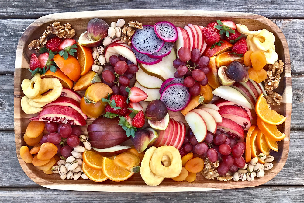 Large tray of various fruits for a Tu B'Shvat Seder