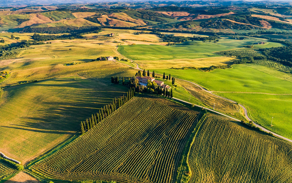 rolling hills of the Tuscany region of Italy