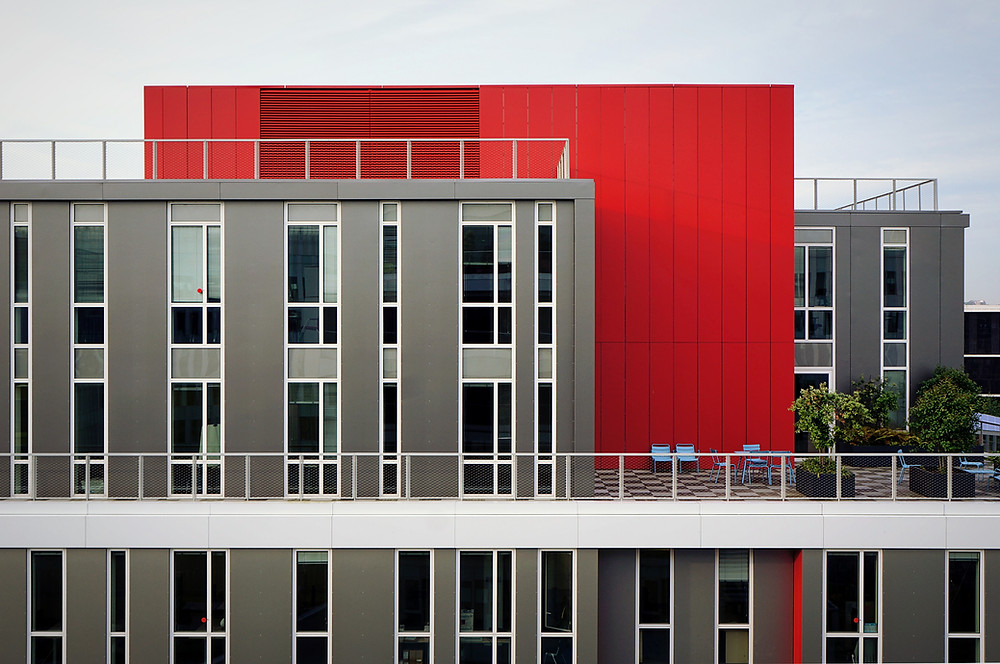 Red and grey toned office building
