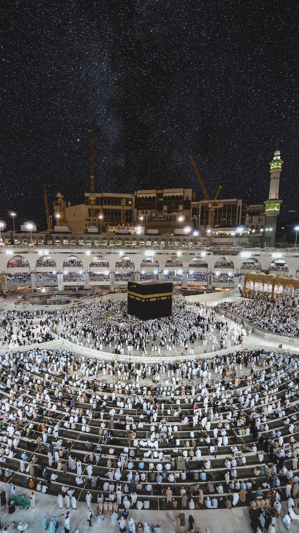 The Holy Mosque in Mecca, the Kaaba in the center