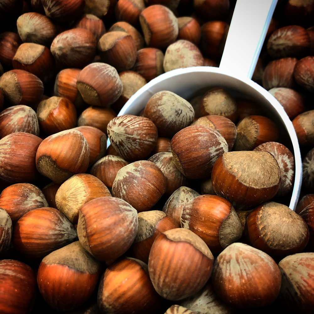 A bulk of hazelnuts