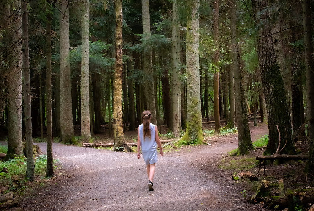 Girl in forest at split in the trail