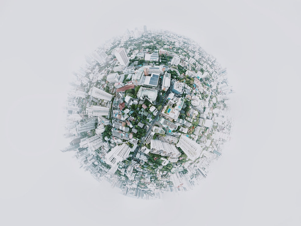 Abstract picture of city in shape of globe