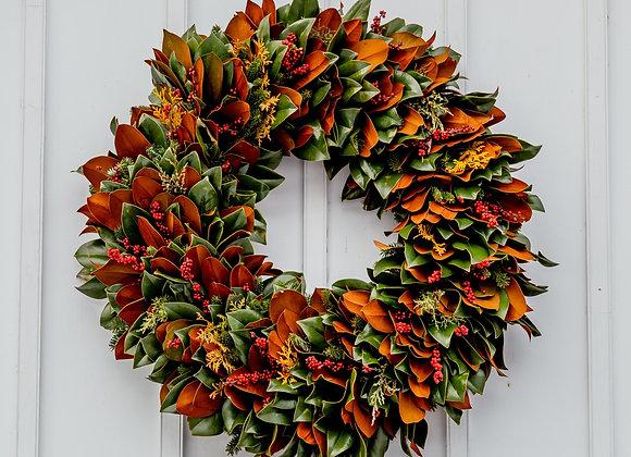 "Fresh Magnolia and Greens Wreath 24"""
