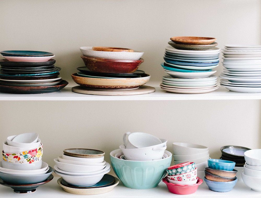 crockery stacked