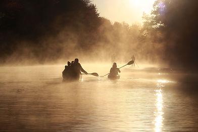 School group canoeing in the Bioasis