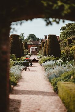 Photograph of a country house garden