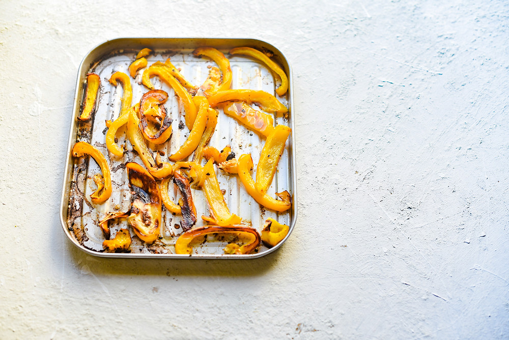 roasted yellow pepper cooked in a tray