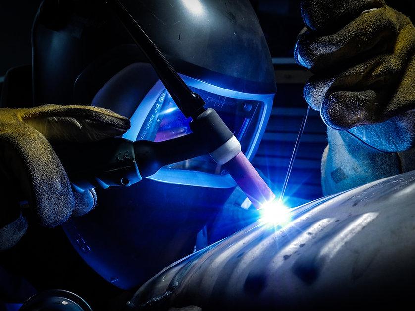welding machine in use