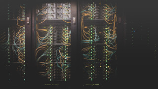 telecom rack blinking its lights