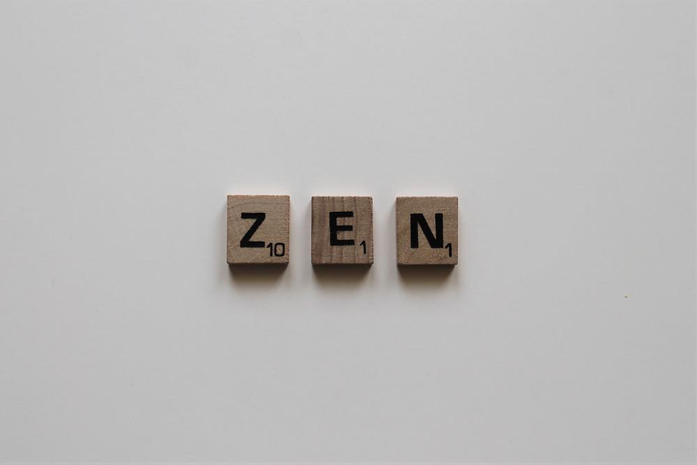 Scrabble pieces spelling the word ZEN