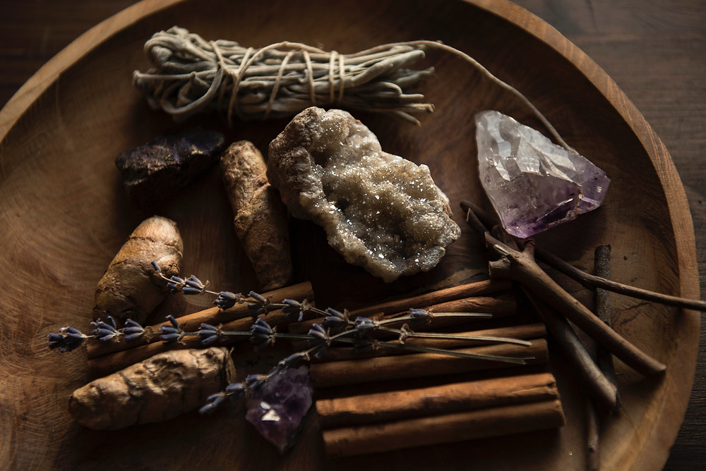 Having magickal tools around us at all times like crystals and plants can help each withc feel like they can easily practice their magick daily by just by touching and charging their tools