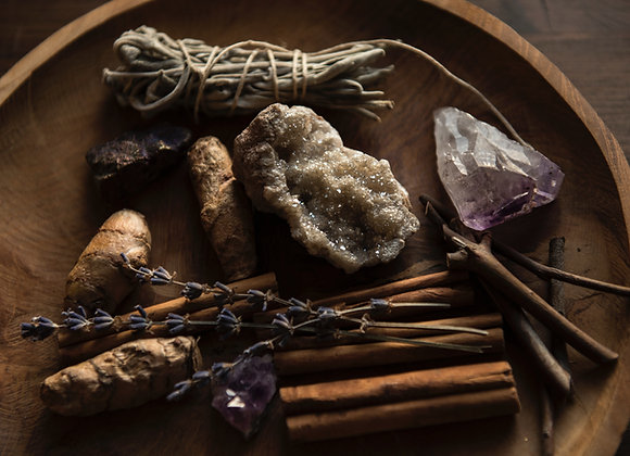 Beginner Witch Kit, Witchcraft Supplies, Candles, Herbs, Crystals