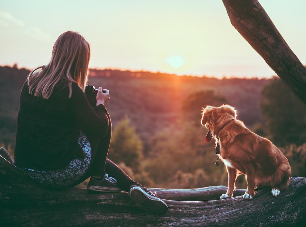 woman dog sunset