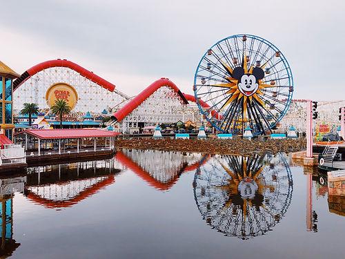 Pixar Pier with roller coaster and ferris wheel at Disney California Adventure