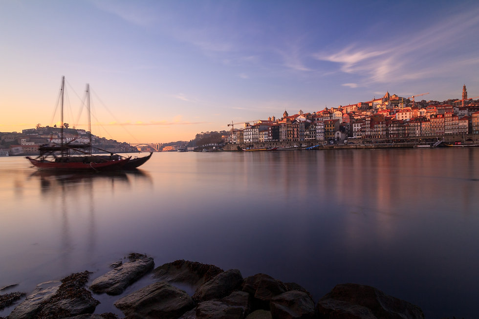 Porto Portugal Douro river sunset riverside boats