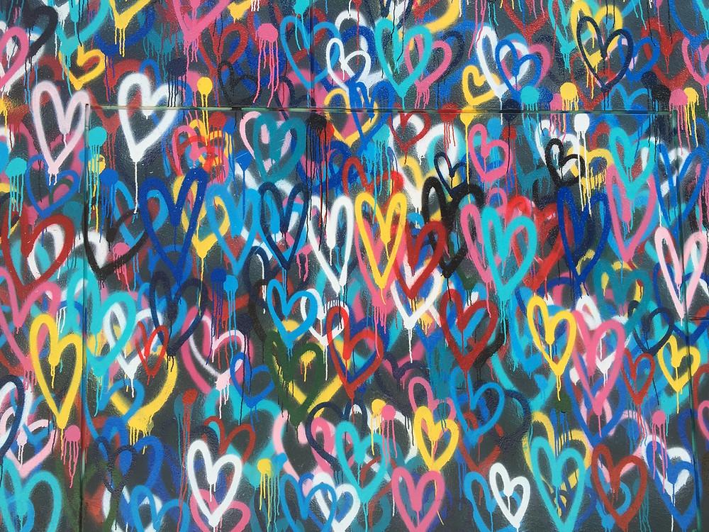 multi-colored heart artwork