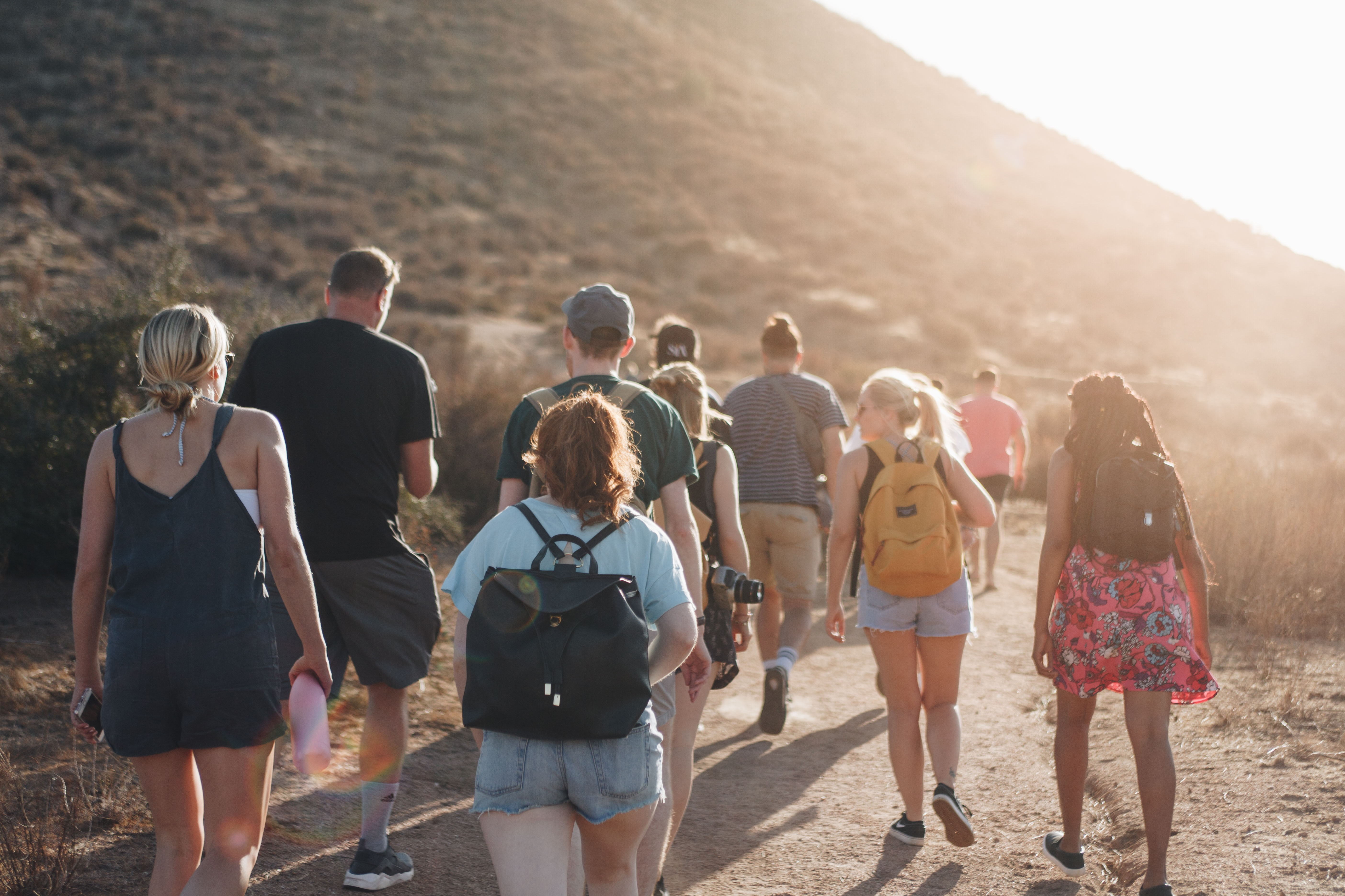 Young people going on a hike