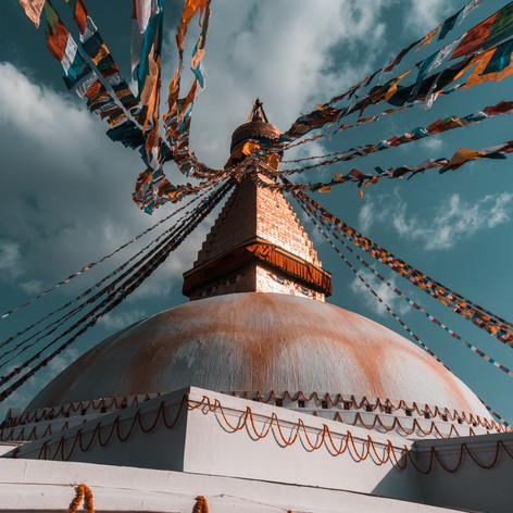 Kathmandou et les drapeaux de prière