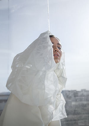 Woman with Recycled Plastic Clothes